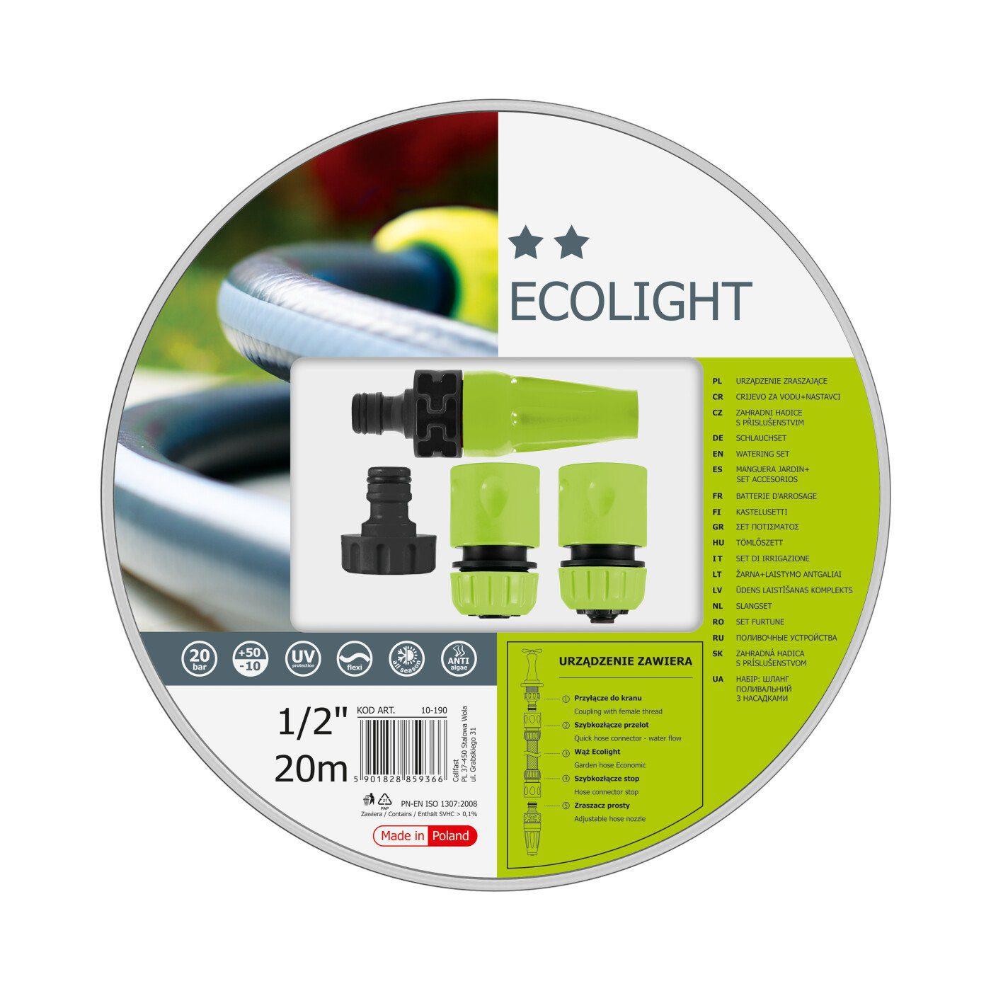 Cellfast Wąż ogrodowy ECOLIGHT + Końcówki