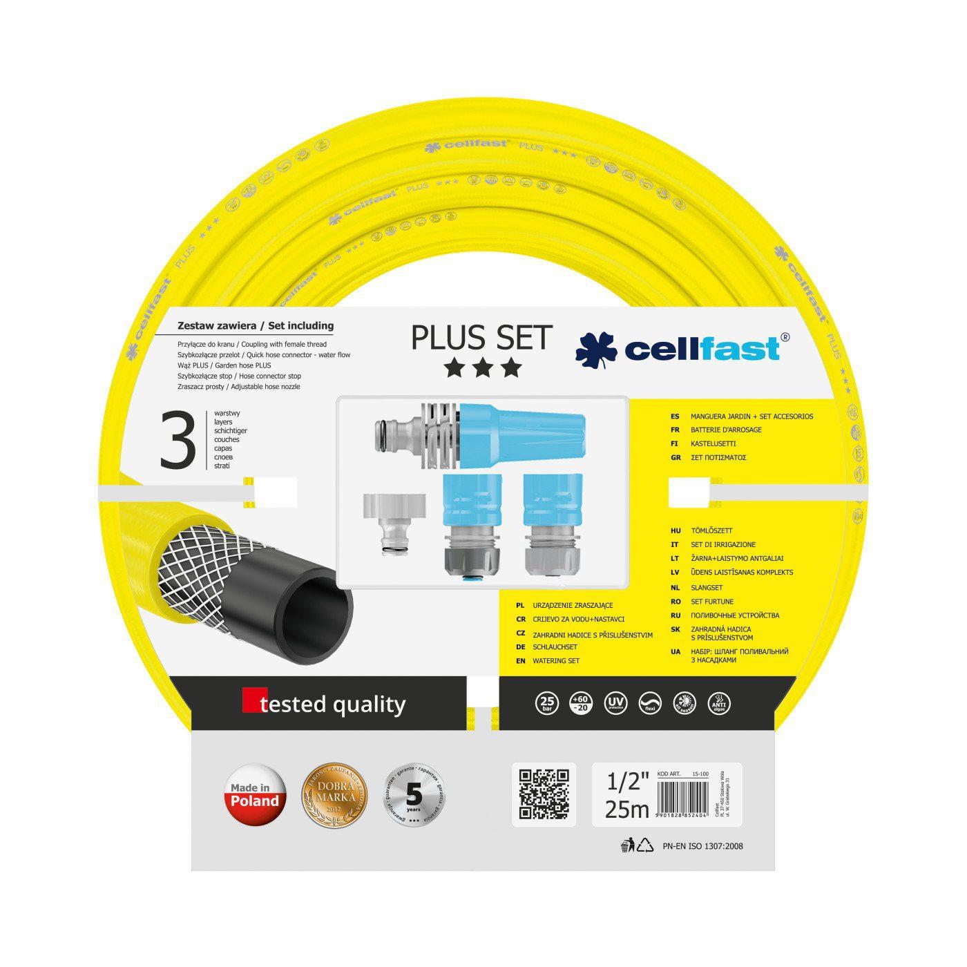Cellfast Wąż ogrodowy PLUS 1/2″ 25m + końcówki